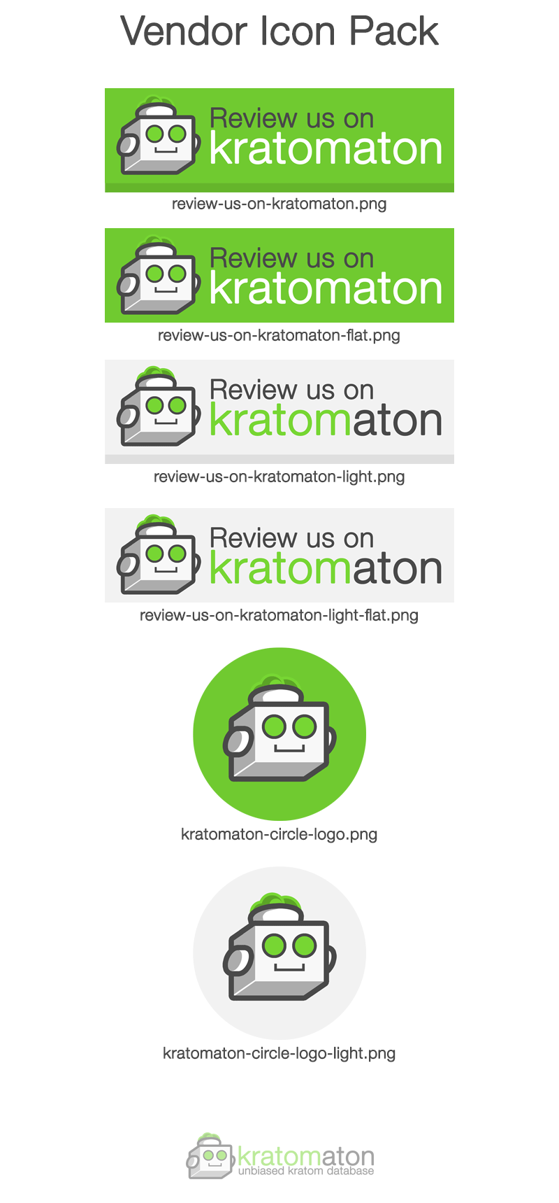 A list of downloadable Kratomaton icons for kratom vendors