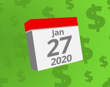 Calendar with the date January 27th, 2020 on it