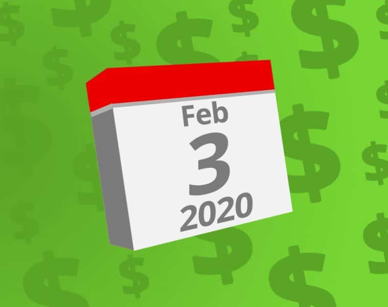 Calendar with the date February 3rd, 2020 on it