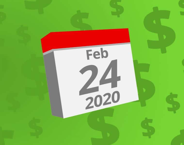 Calendar with the date February 24th, 2020 on it