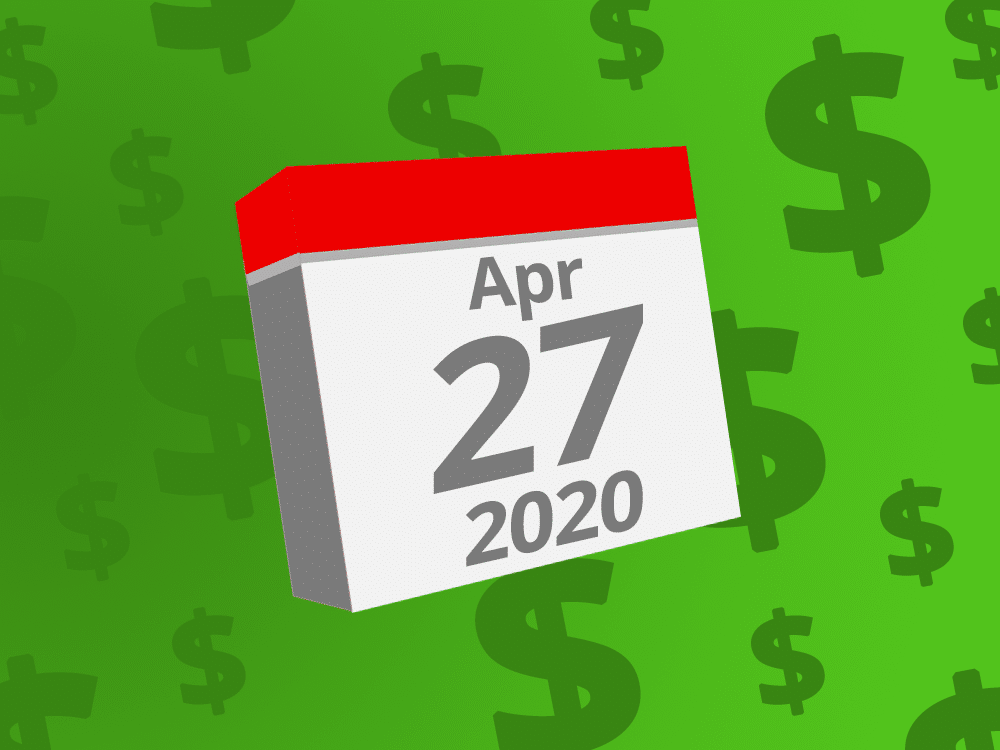 Calendar with the date April 27th, 2020 on it