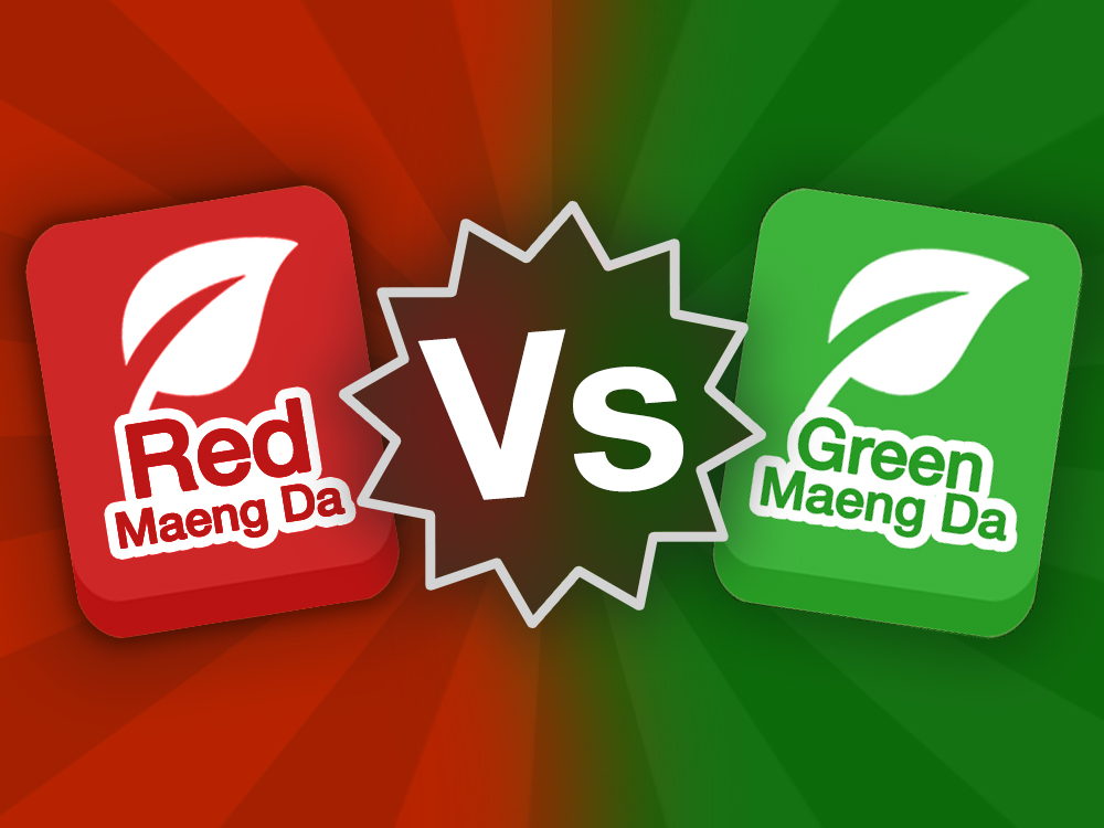 Red Maeng Da strain icon vs Green Maeng Da strain icon