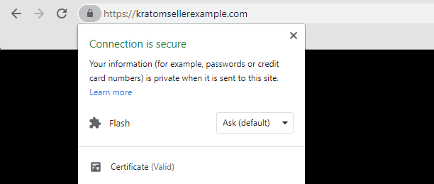 A screenshot of Google Chrome detecting a valid HTTPS connection
