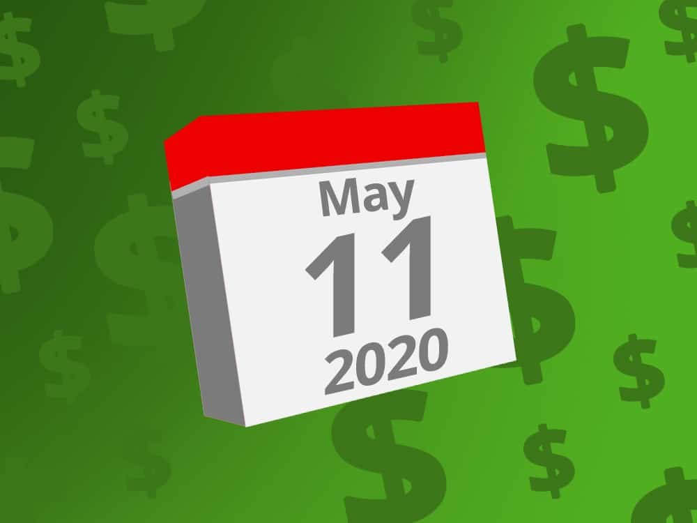 Calendar with the date May 11th, 2020 on it