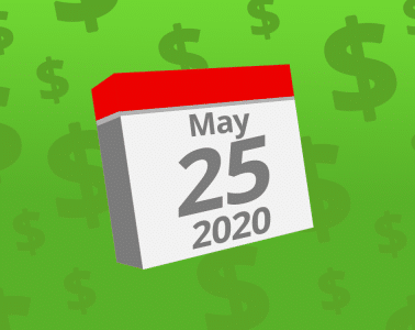 Calendar with the date May 25th, 2020 on it