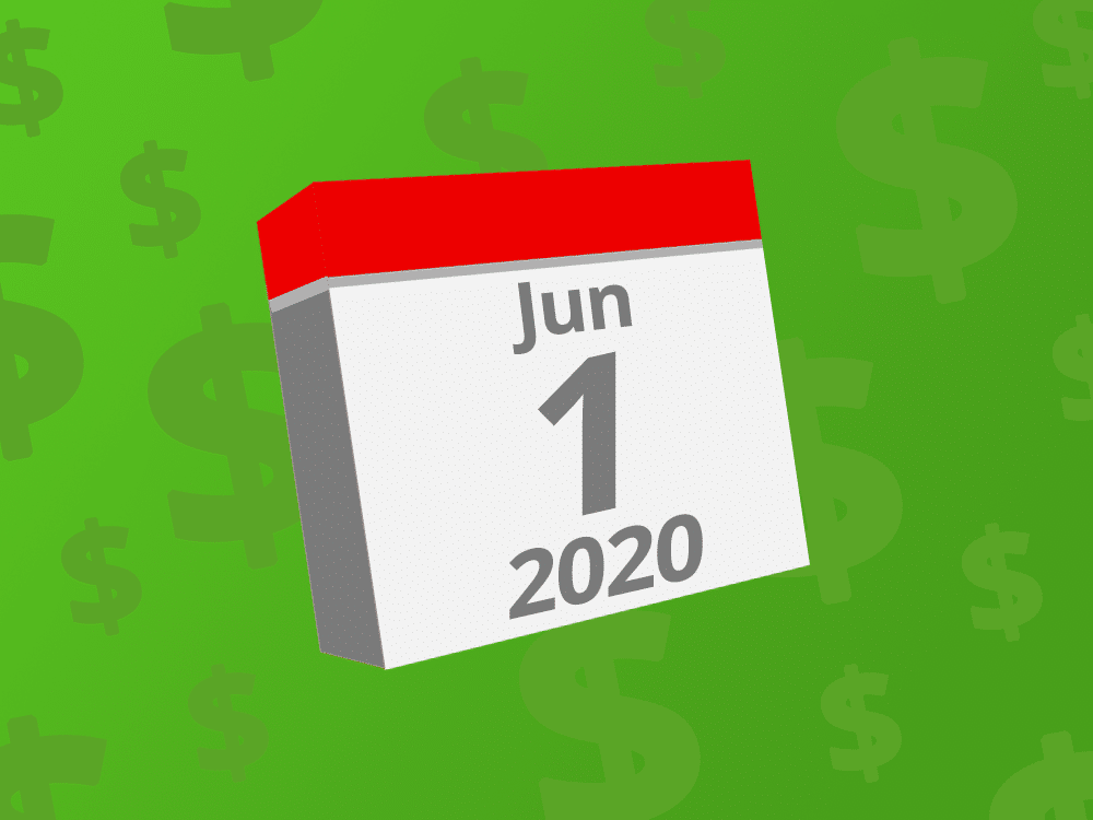 Calendar with the date June 1st, 2020 on it
