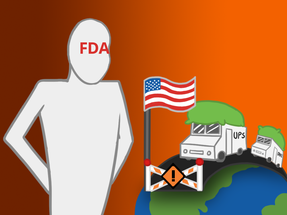 FDA standing over a blocked road as DHL and UPS trucks carrying kratom arrive