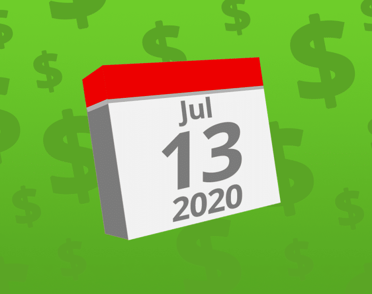 Calendar with the date July 13th, 2020 on it