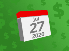 Calendar with the date July 27th, 2020 on it