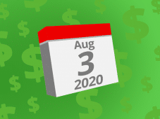 Calendar with the date August 3rd, 2020 on it