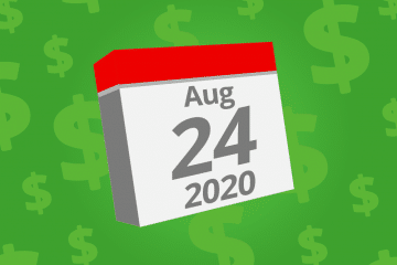 Calendar with the date August 24th, 2020 on it