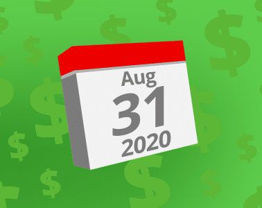 Calendar with the date August 31st, 2020 on it