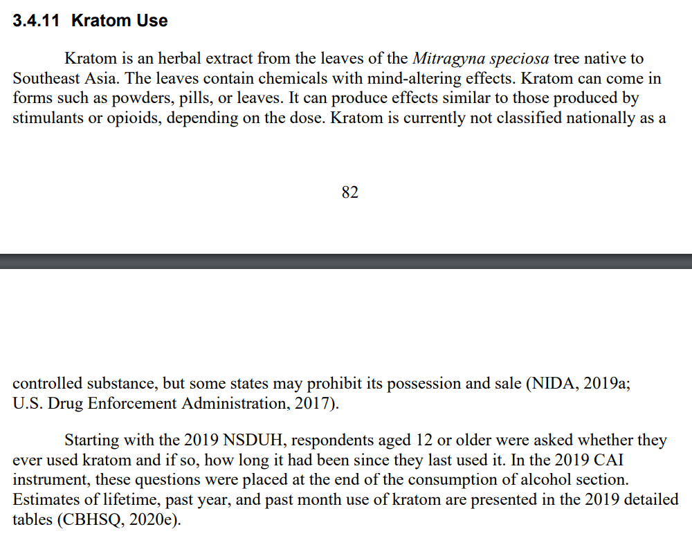 First appearance of kratom in NSDUH for 2019