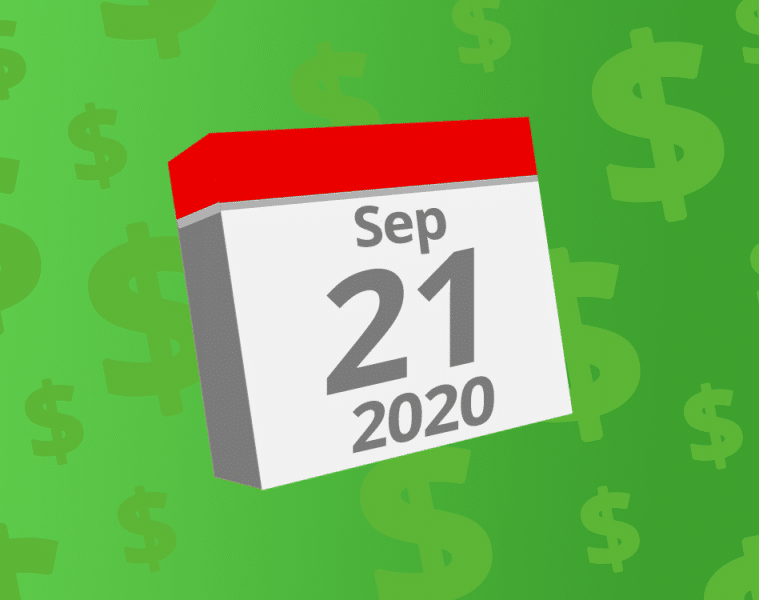 Calendar with the date September 21st, 2020 on it