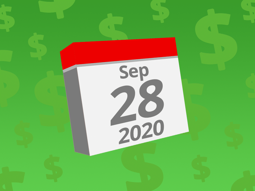 Calendar with the date September 29th, 2020 on it