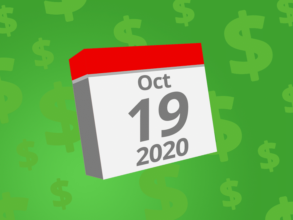 Calendar with the date October 19th, 2020 on it
