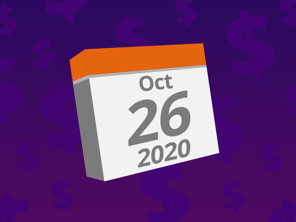 Calendar with the date October 26th, 2020 on it