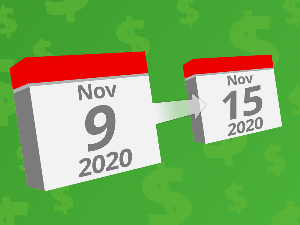 Calendars with the dates November 9th - 15th 2020 on them