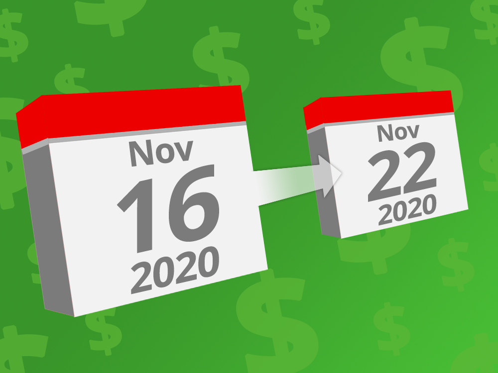 Calendars with the dates November 16th - 22nd 2020 on them