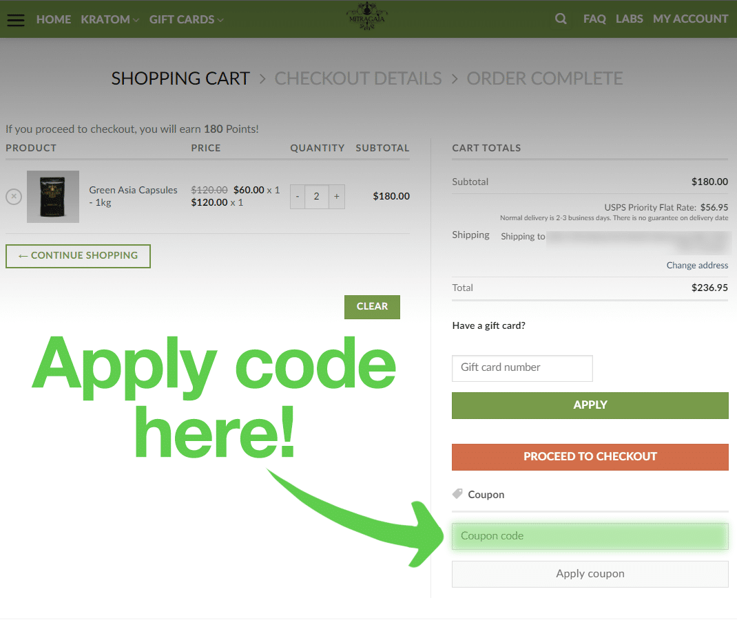 An image depicting where to enter the Mitragaia coupon code at checkout