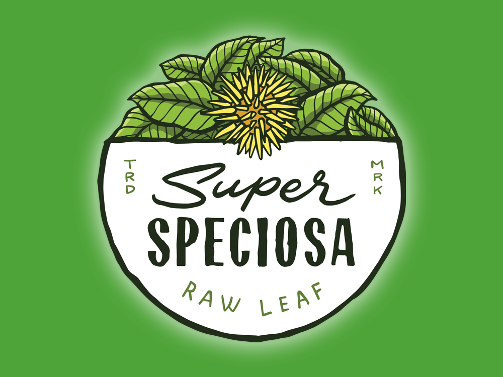 Super Speciosa logo on a green background